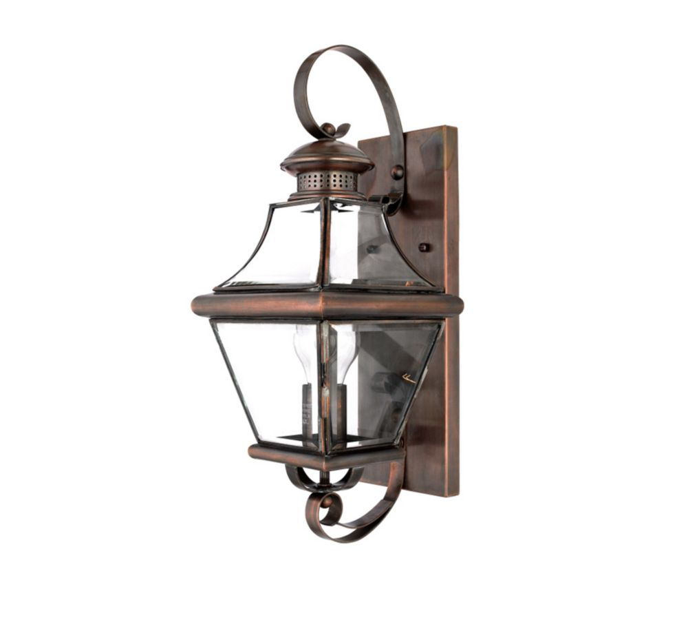 Monroe 1 Light Aged Copper Outdoor Incandescent Wall Lantern CLI-QU058015 in Canada