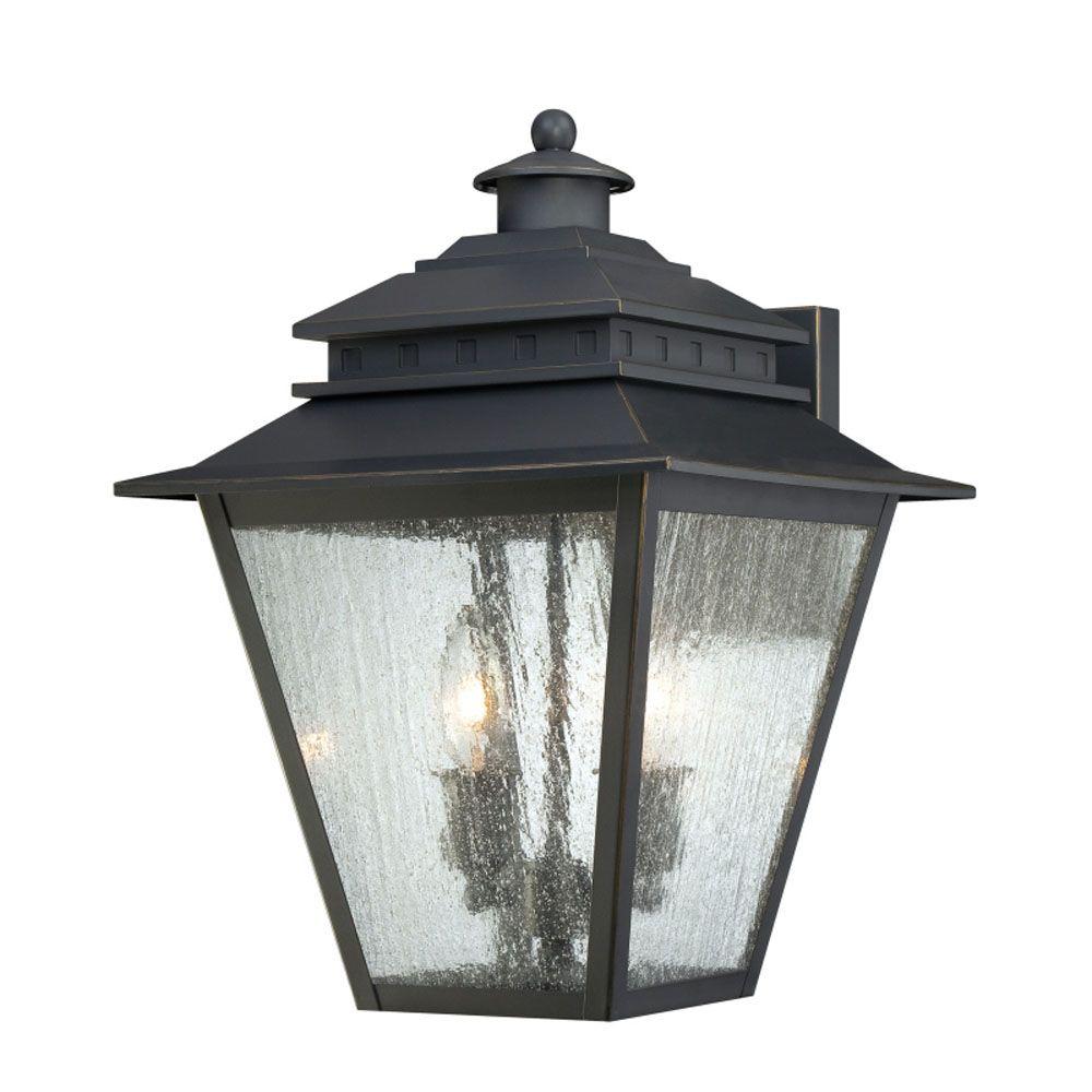Monroe 2-Light Weathered Bronze Outdoor Wall Lantern