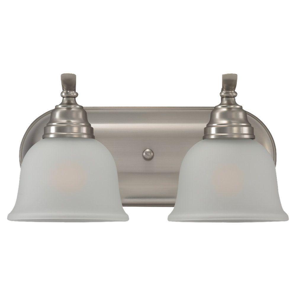 2 Light Brushed Nickel Fluorescent Bathroom Vanity