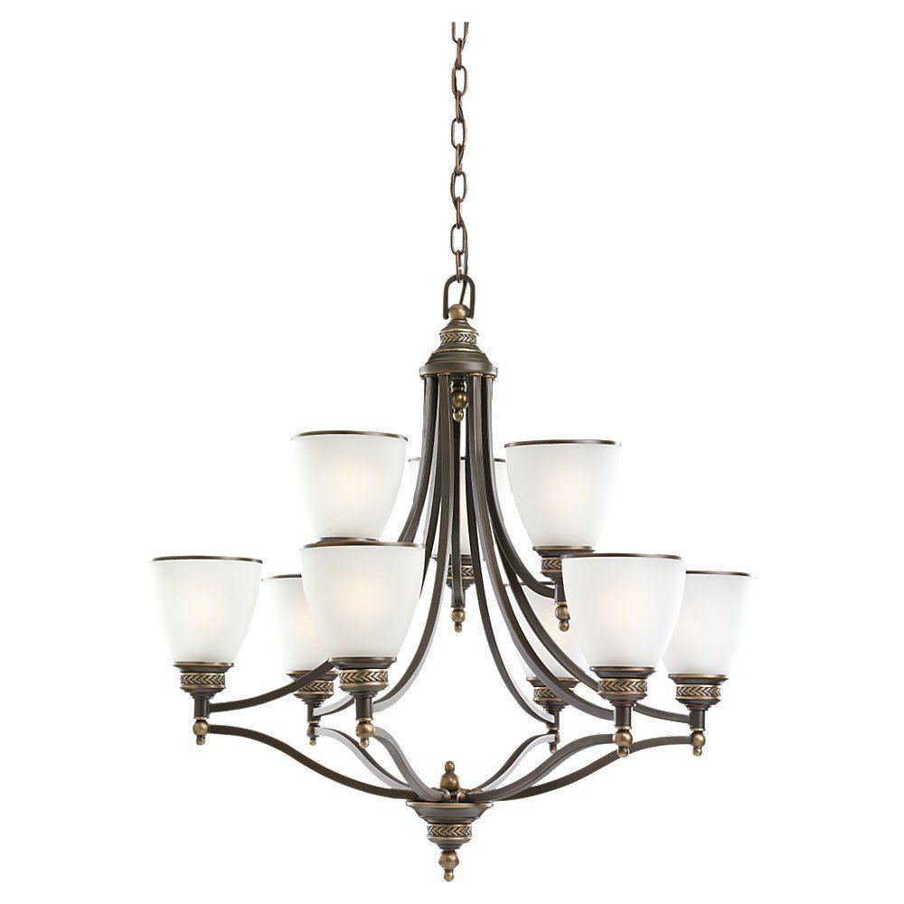 9-Light Estate Bronze Chandelier