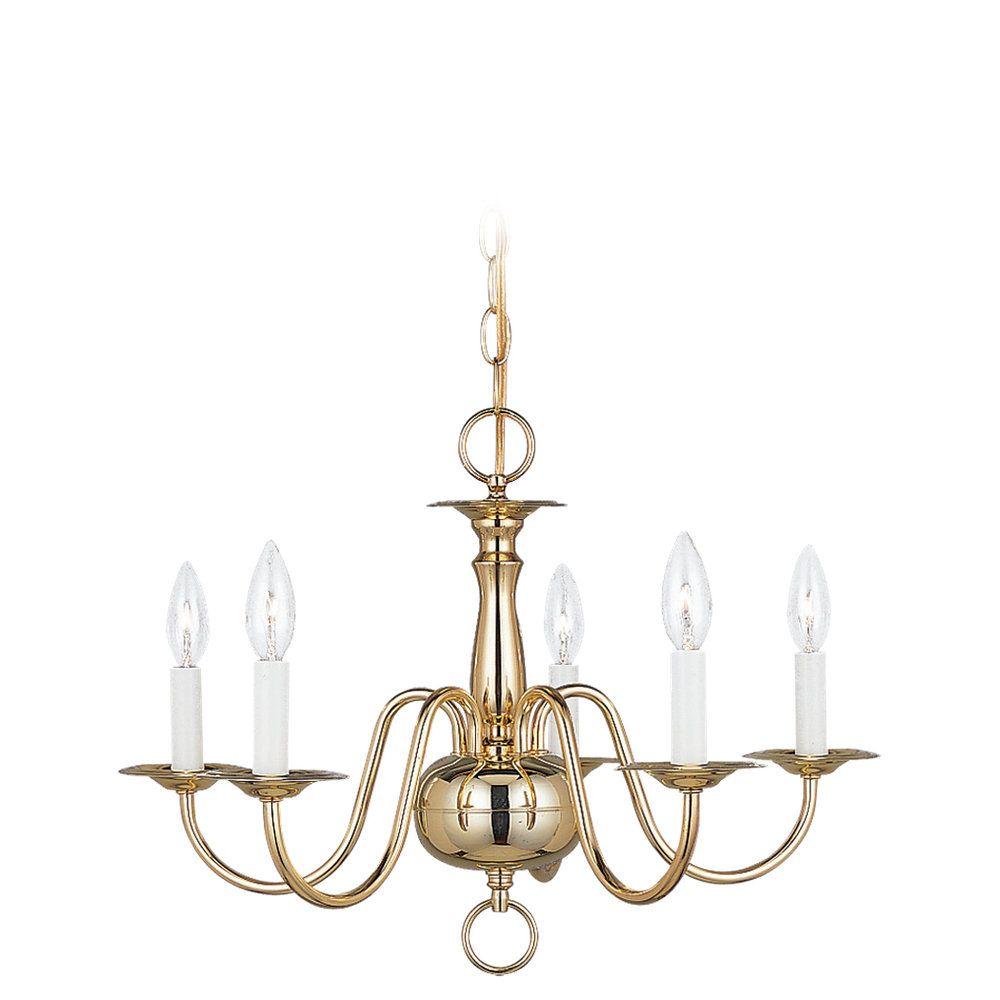 5 Light Polished Brass Incandescent Chandelier