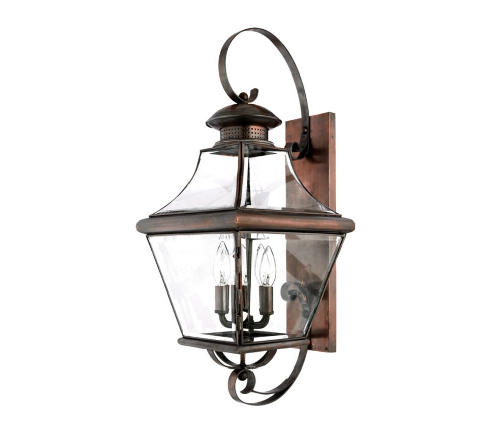 Monroe 4-Light Aged Copper Outdoor Wall Lantern