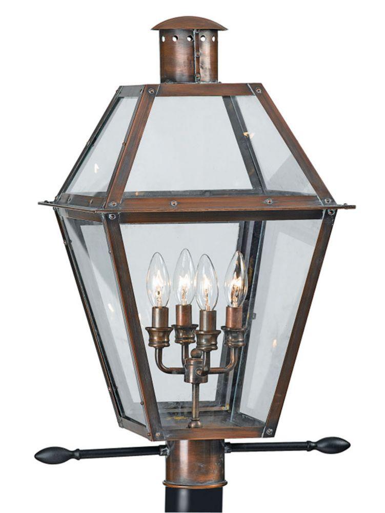 Monroe 4-Light Aged Copper Outdoor Post Lantern