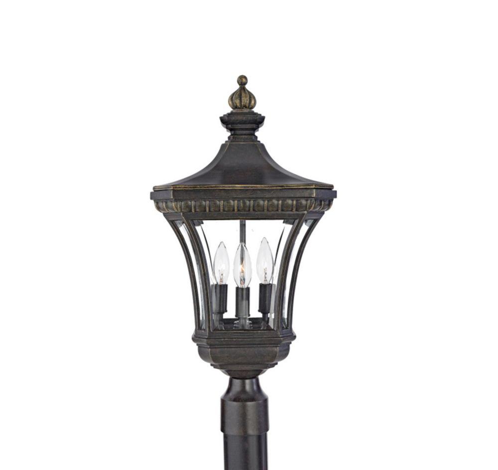 Monroe 3 Light Imperial Bronze Outdoor Incandescent Post Lantern