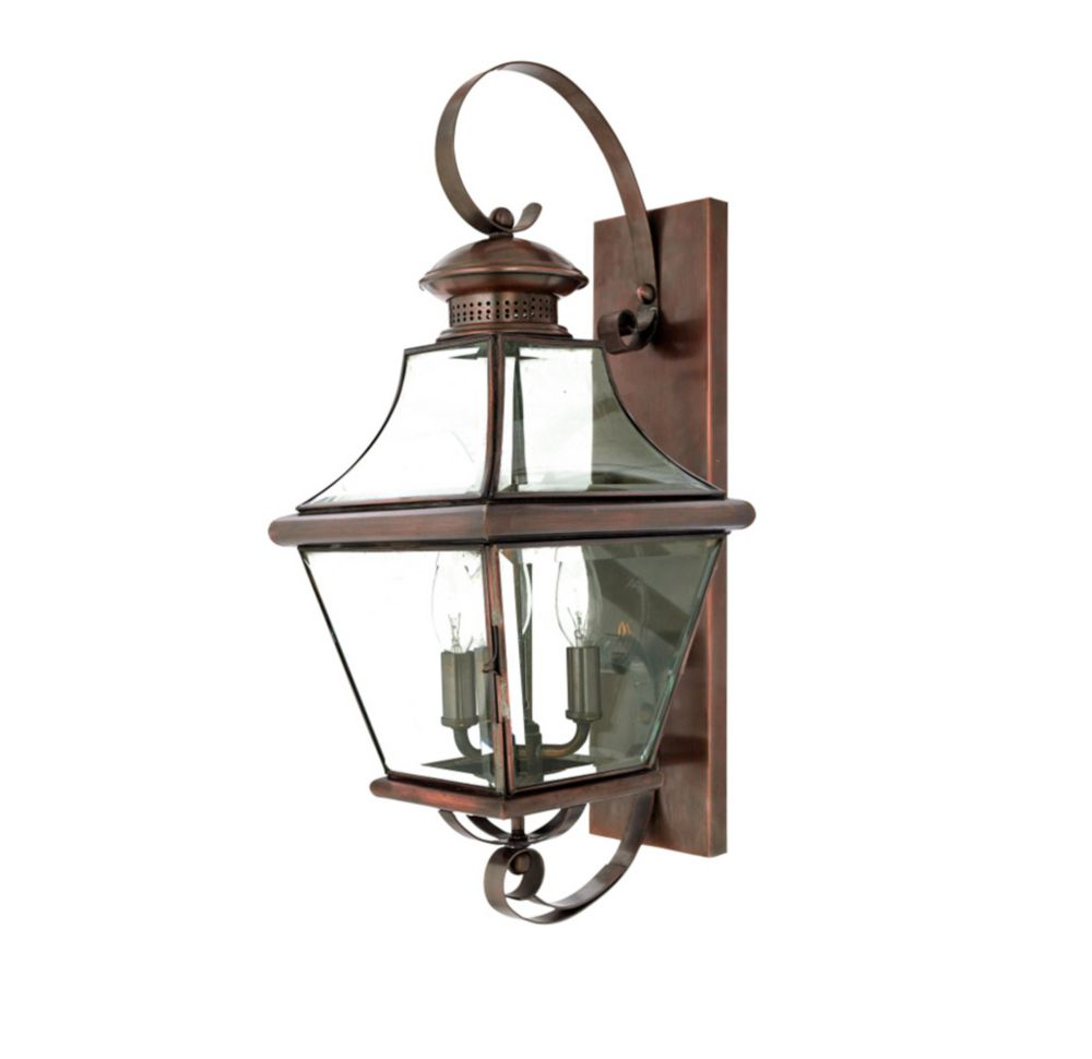 Monroe 3-Light Aged Copper Outdoor Wall Lantern