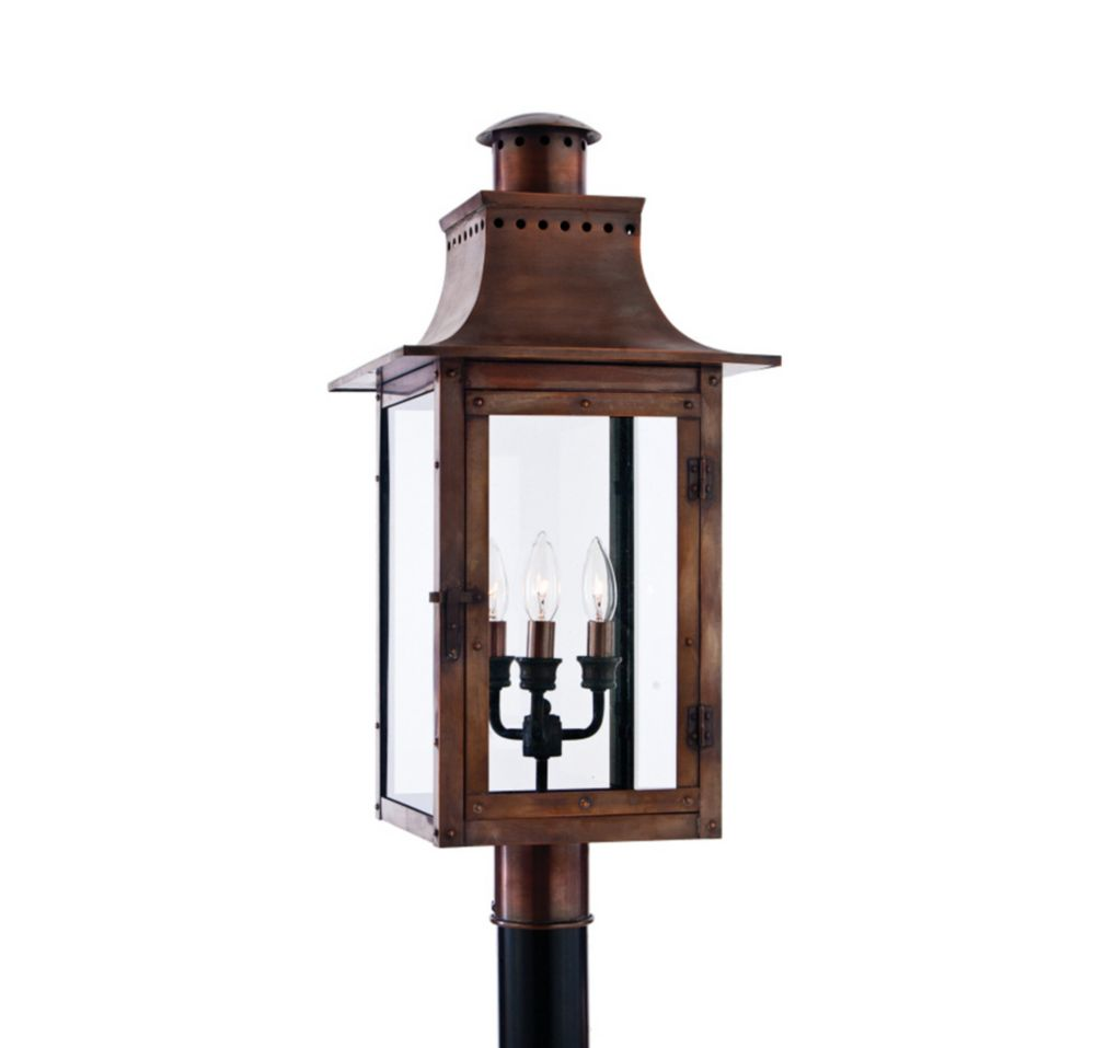 Monroe 3 Light Aged Copper Outdoor Incandescent Post Lantern