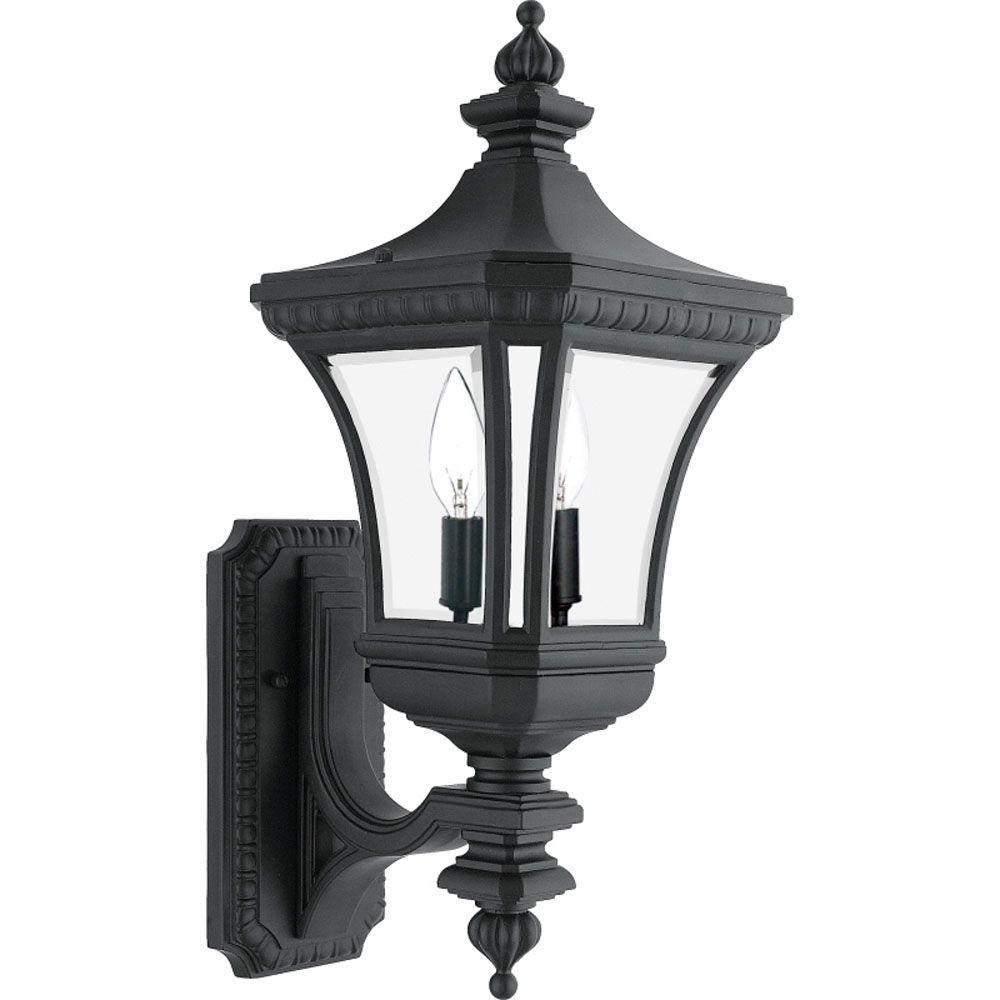 Monroe 2 Light Mystic Black Outdoor Incandescent Wall Lantern
