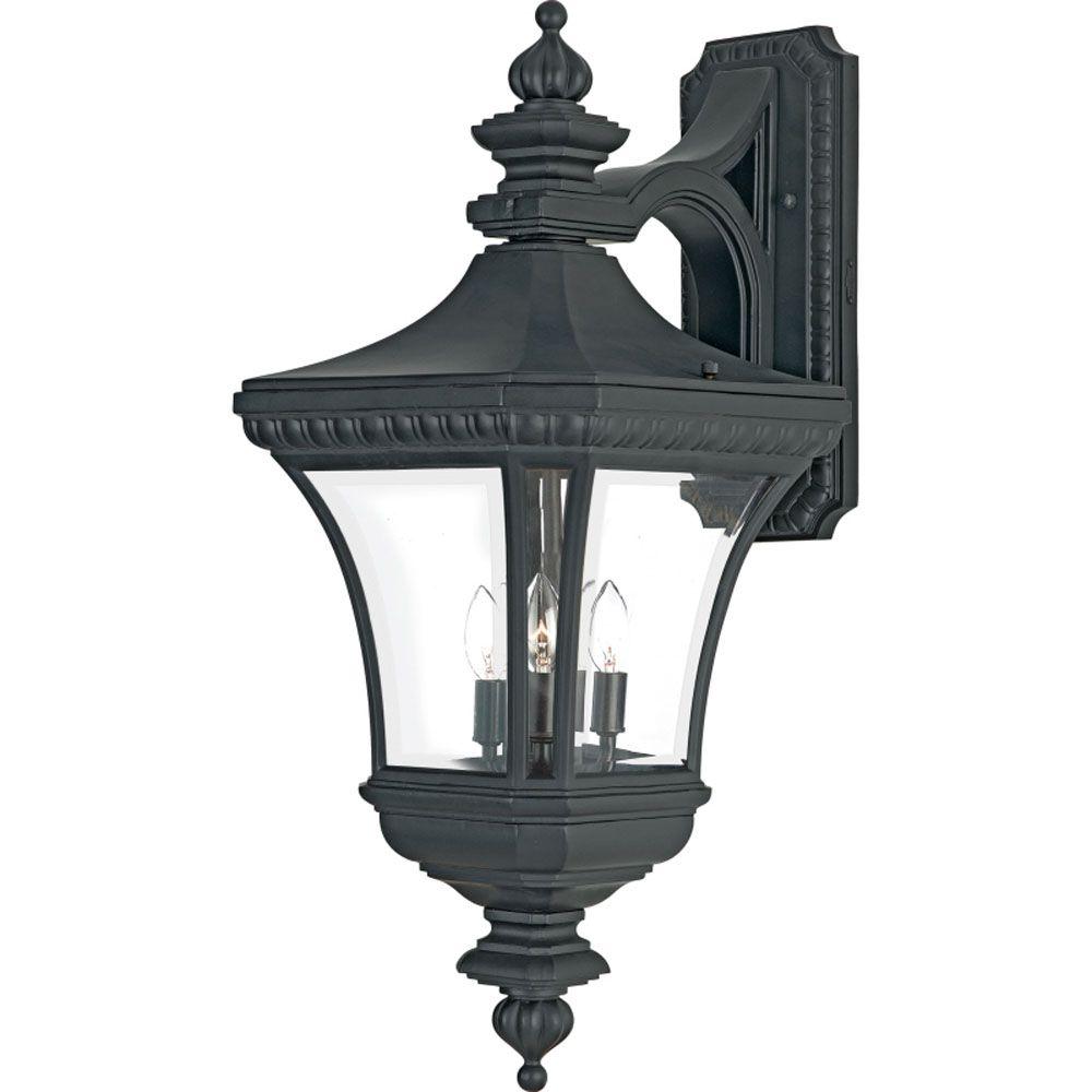 Monroe 3-Light Mystic Black Outdoor Wall Lantern