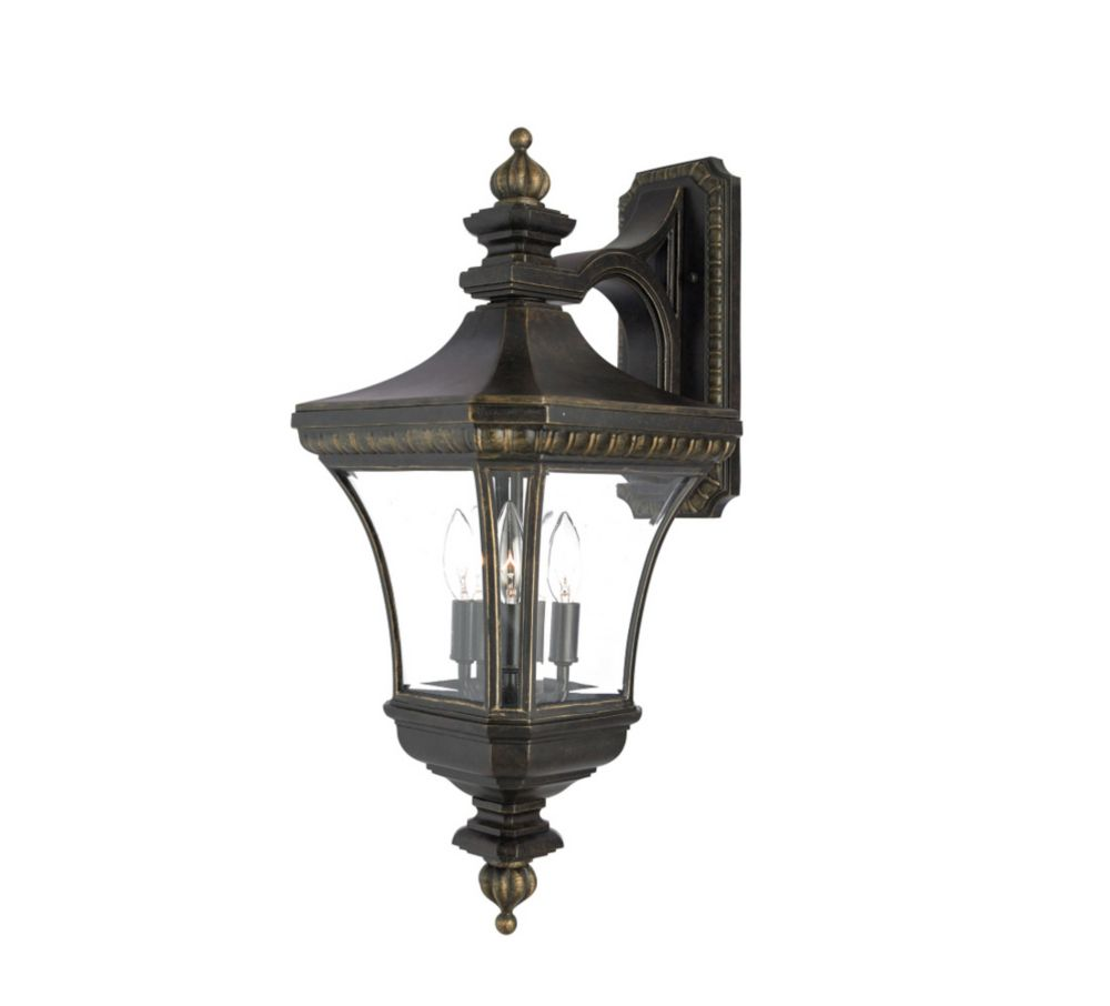 Monroe 3 Light Imperial Bronze Outdoor Incandescent Wall Lantern