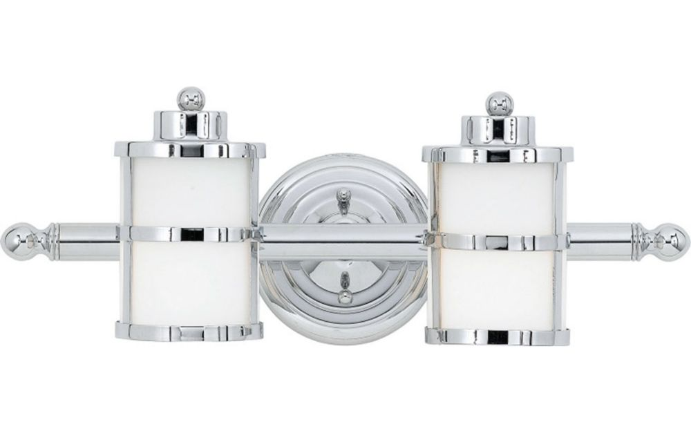 Monroe 2 Light Polished Chrome Incandescent Vanity with an Opal Etched Shade