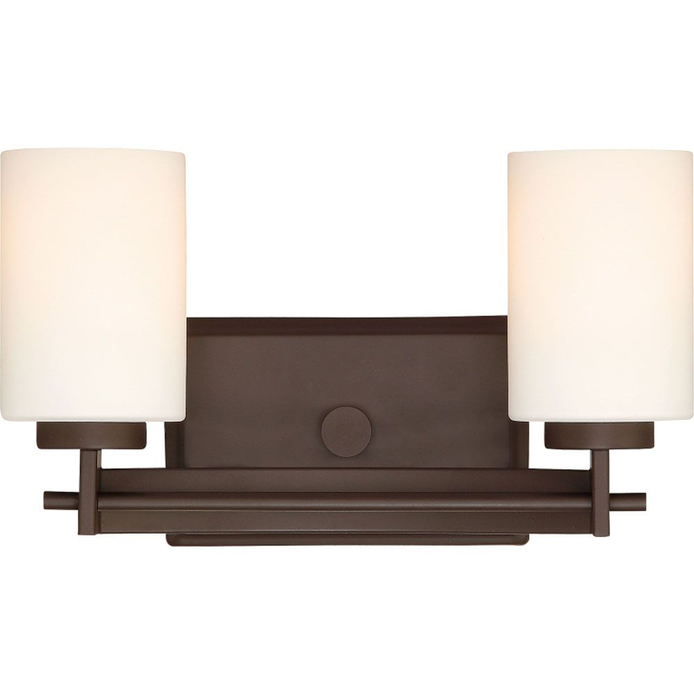 Monroe 2 Light Western Bronze Incandescent Vanity with an Opal Etched Shade