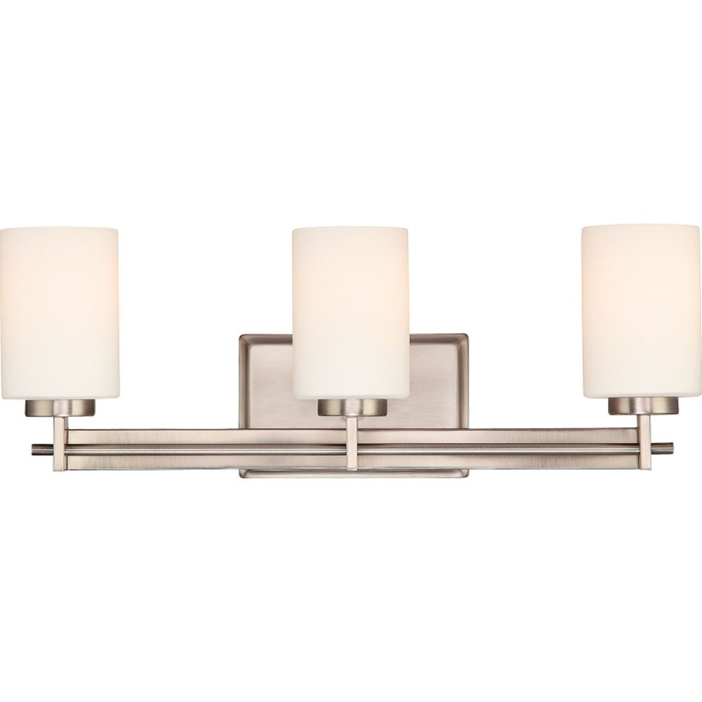 Monroe 3-Light Antique Nickel Vanity with an Opal Etched Shade