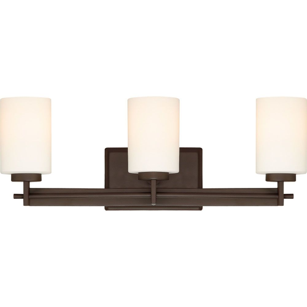 Monroe 3-Light Western Bronze Vanity with an Opal Etched Shade