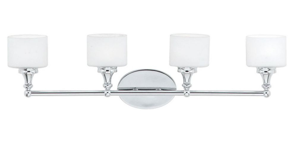 Monroe 4 Light Polished Chrome Halogen Vanity with an Opal Etched Shade