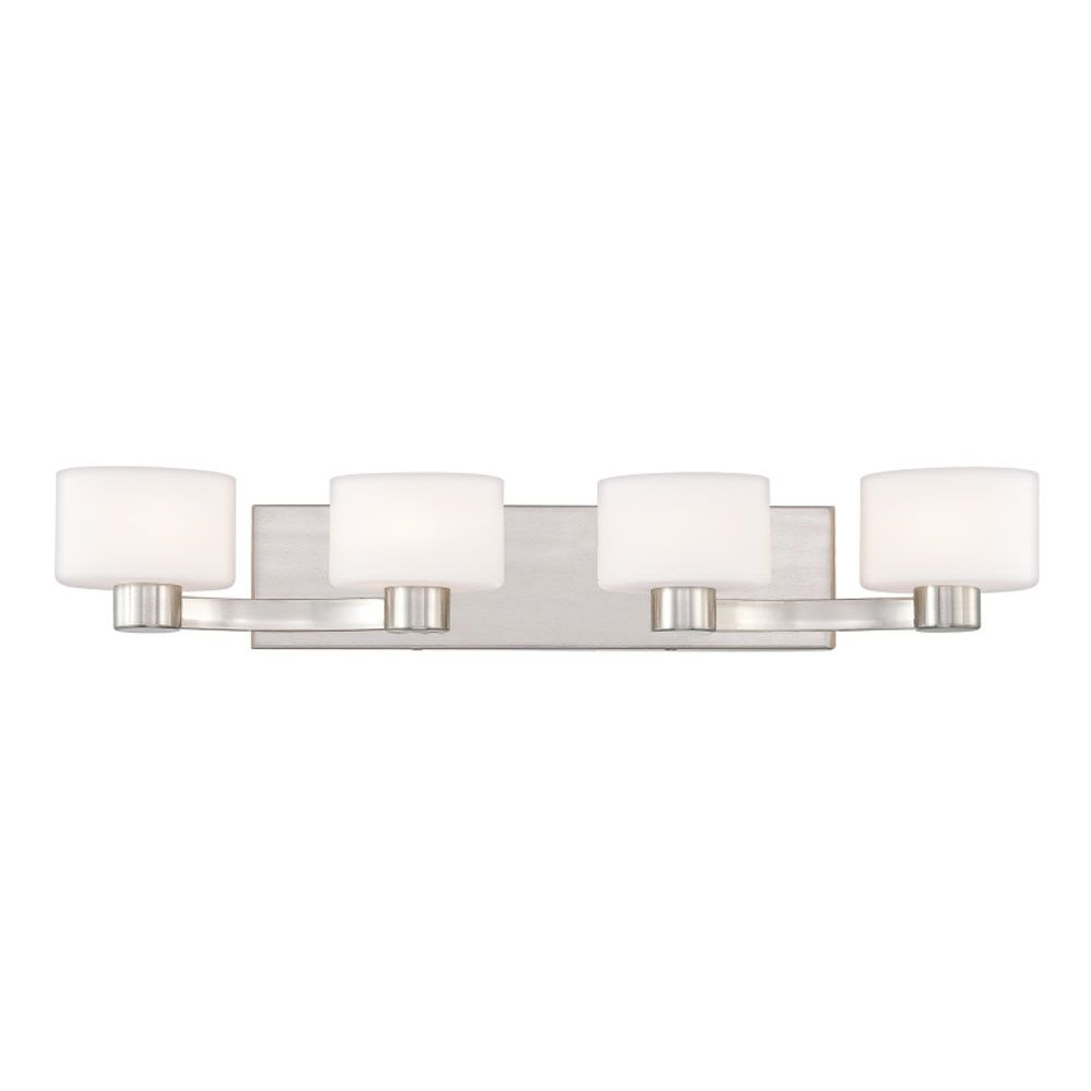 Monroe 4 Light Brushed Nickel Halogen Vanity with an Opal Etched Shade