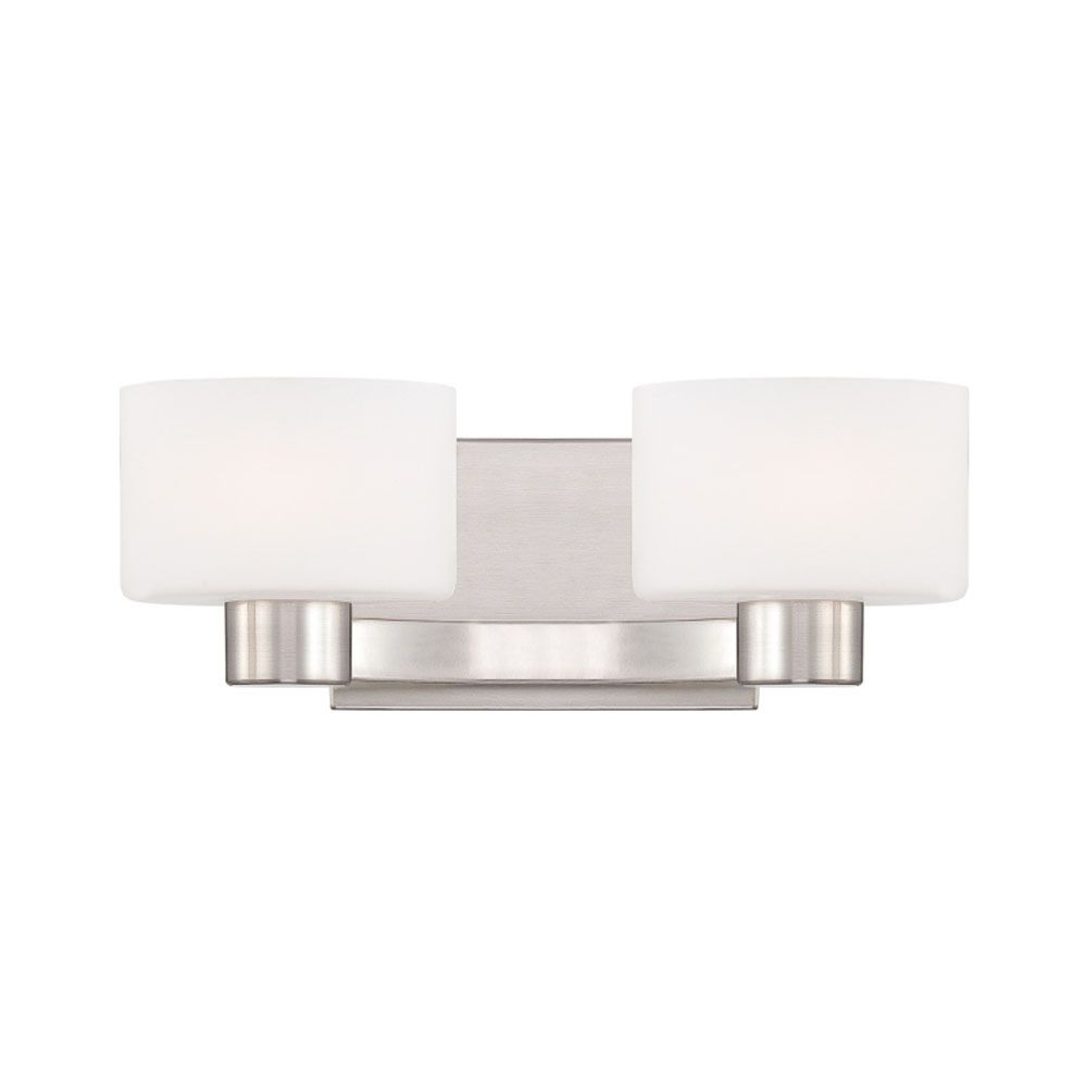 Monroe 2 Light Brushed Nickel Halogen Vanity with an Opal Etched Shade
