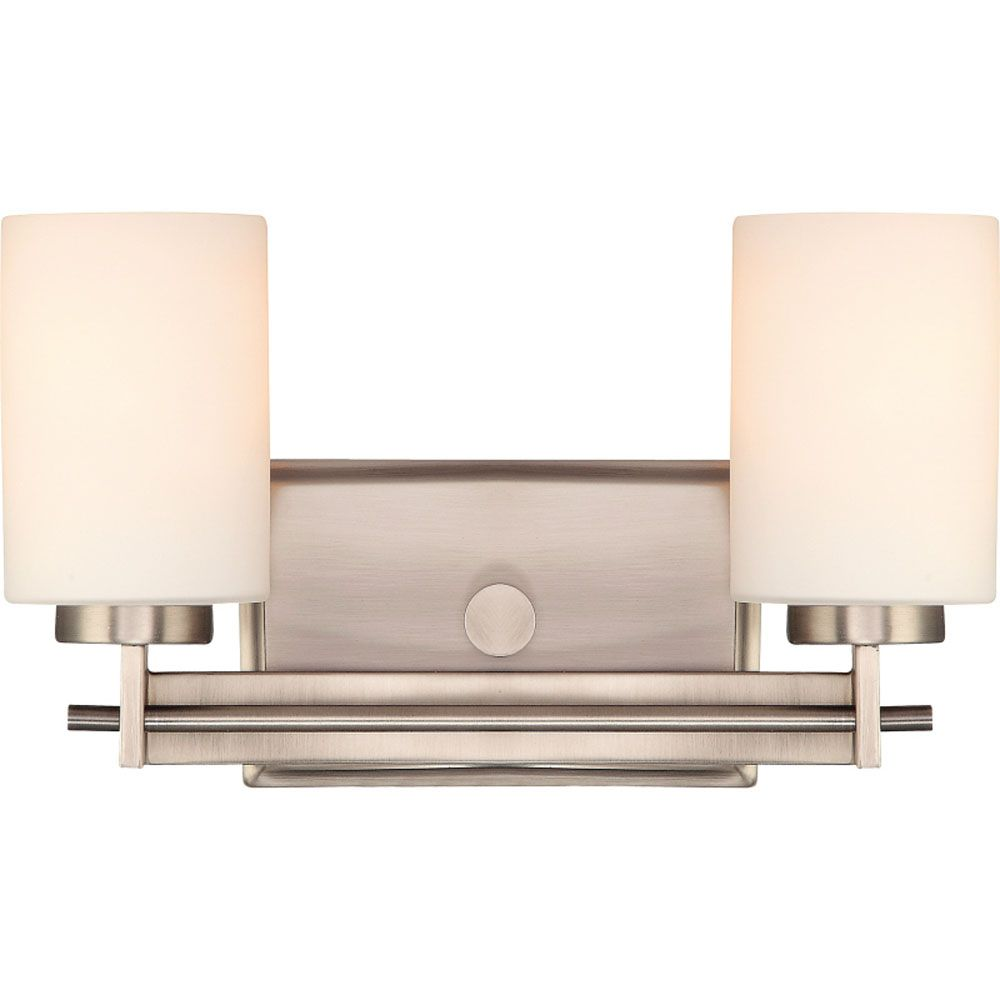 Monroe 2-Light Antique Nickel Vanity with an Opal Etched Shade
