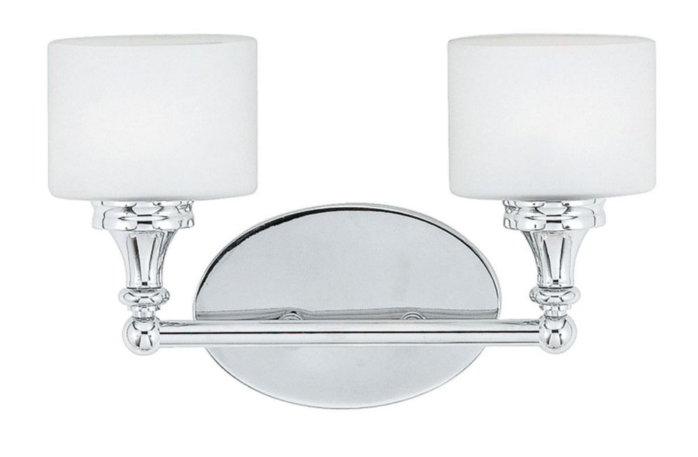 Monroe 2 Light Polished Chrome Halogen Vanity with an Opal Etched Shade