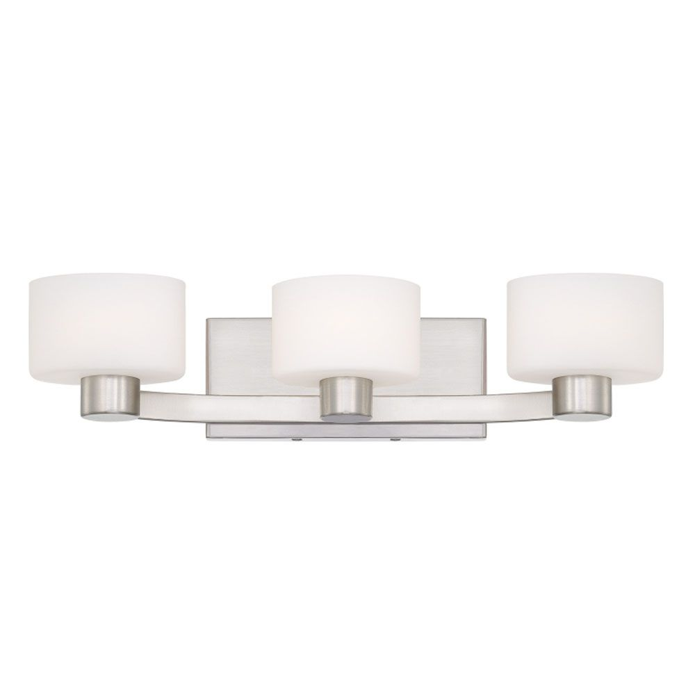 Monroe 3 Light Brushed Nickel Halogen Vanity with an Opal Etched Shade
