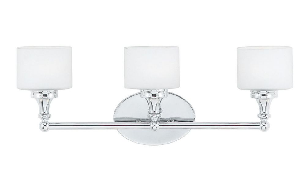 Monroe 3 Light Polished Chrome Halogen Vanity with an Opal Etched Shade