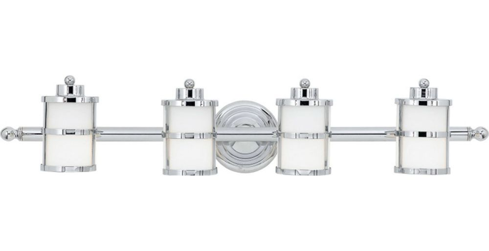 Monroe 4 Light Polished Chrome Incandescent Vanity with an Opal Etched Shade