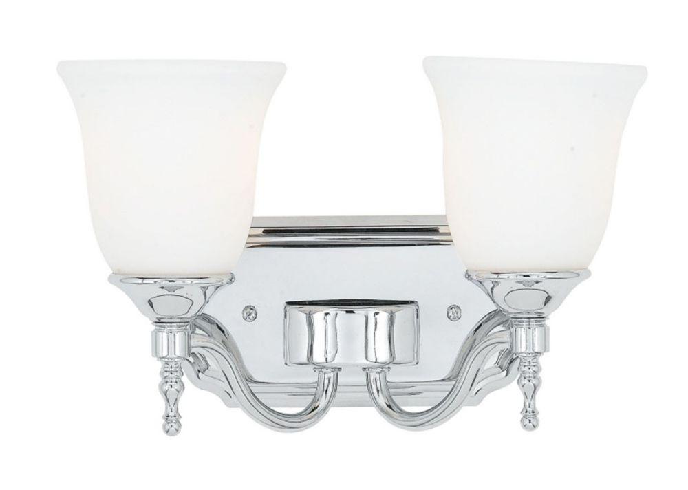 Monroe 2 lumières, nickel brossé Vanity incandescence avec une gravé ombre d'Opale