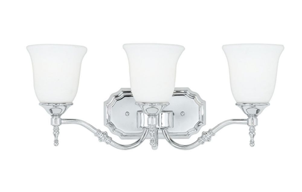 Monroe 3-Light Polished Chrome Vanity with an Opal Etched Shade