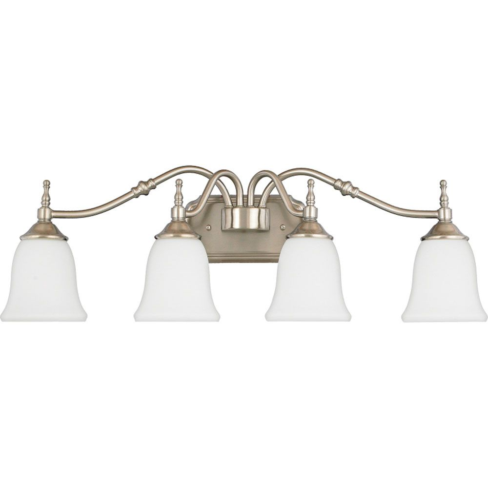 Monroe 4 Light Brushed Nickel Incandescent Vanity with an Opal Etched Shade