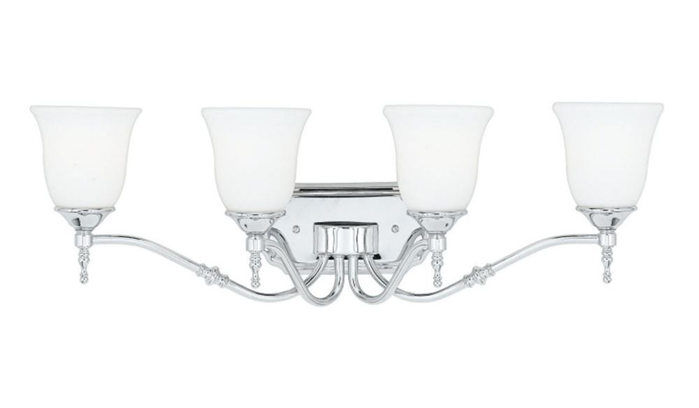 Monroe 4-Light Polished Chrome Vanity with an Opal Etched Shade