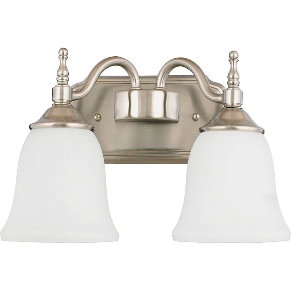 Monroe 2-Light Brushed Nickel Vanity with an Opal Etched Shade