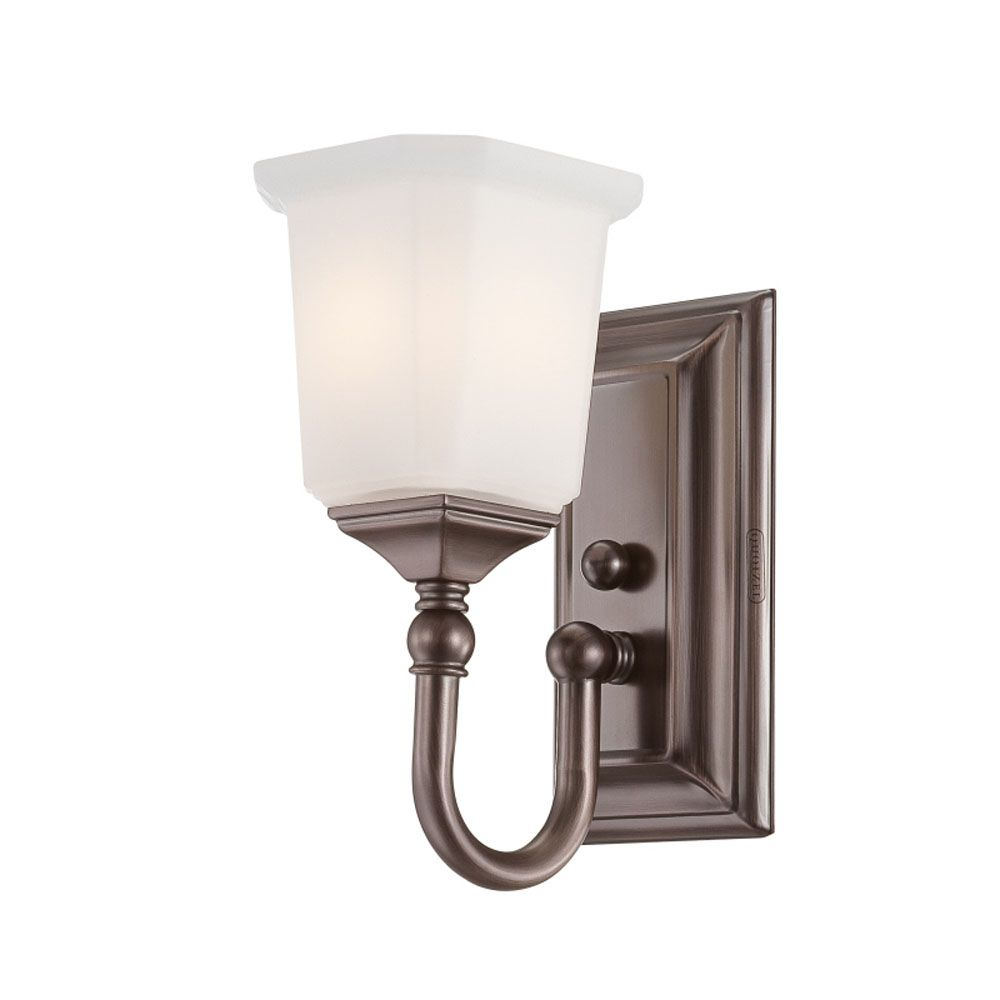 Monroe 1-Light Harbor Bronze Vanity with an Opal Etched Shade
