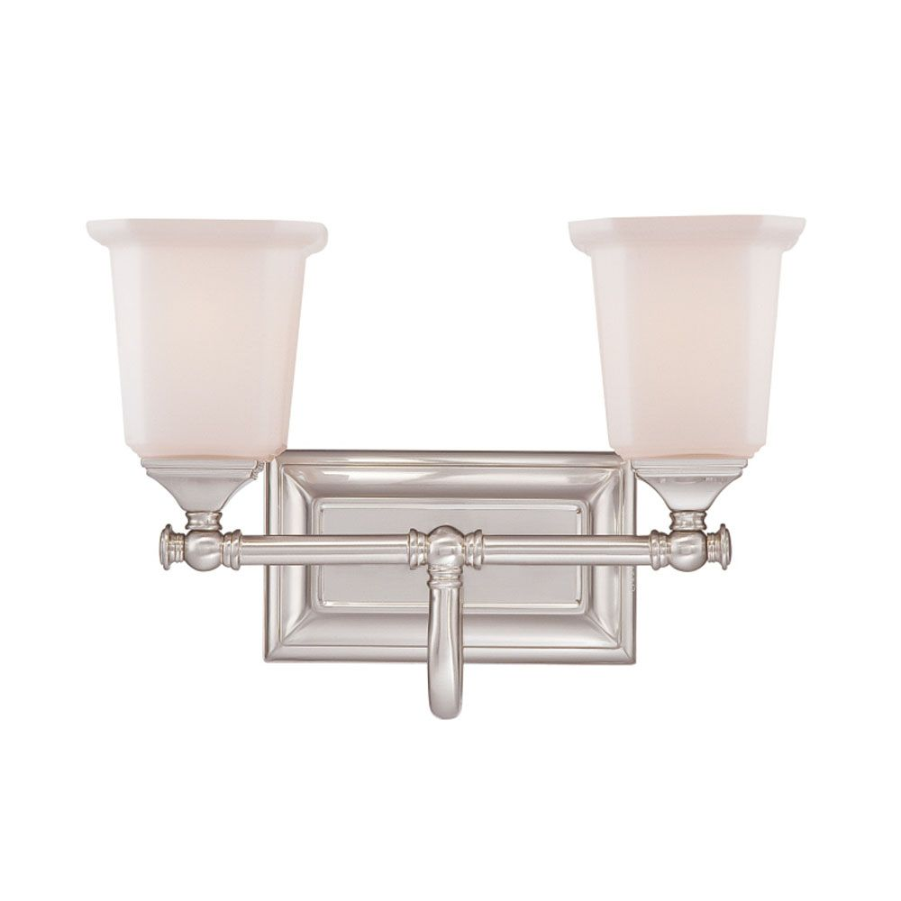 Monroe 2 Light Brushed Nickel Incandescent Vanity with an Opal Etched Shade