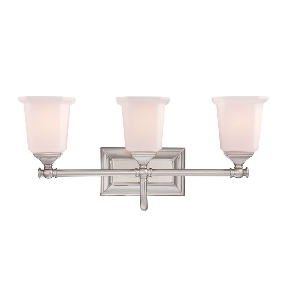 Monroe 3 Light Brushed Nickel Incandescent Vanity with an Opal Etched Shade