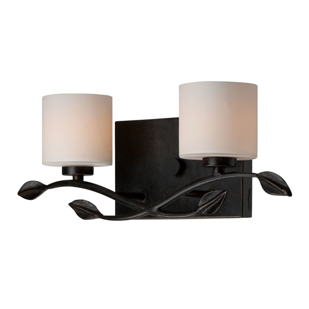 Monroe 2 Light Imperial Bronze Halogen Vanity with an Opal Etched Shade