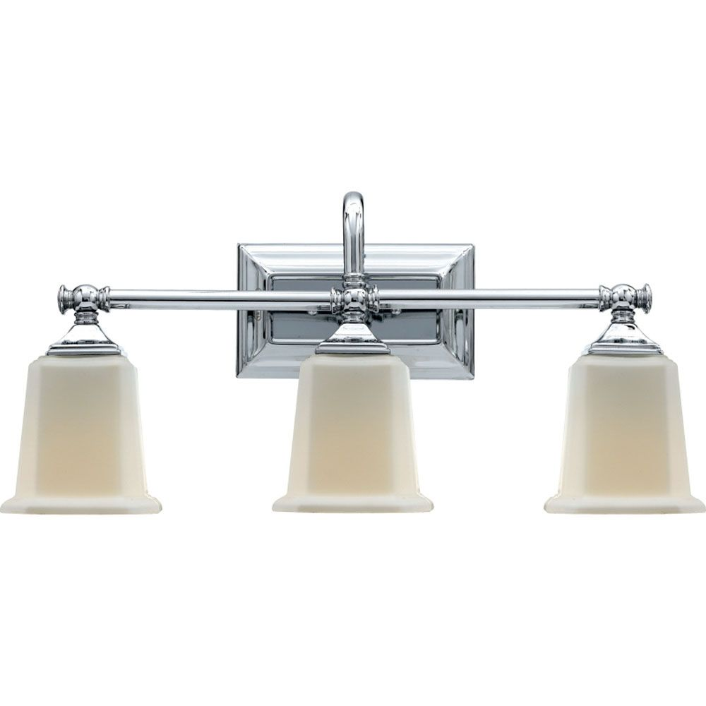 Monroe 3 Light Polished Chrome Incandescent Vanity with an Opal Etched Shade