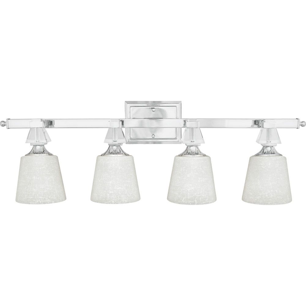 Monroe 4 Light Polished Chrome Incandescent Vanity with a Cream Linen Shade
