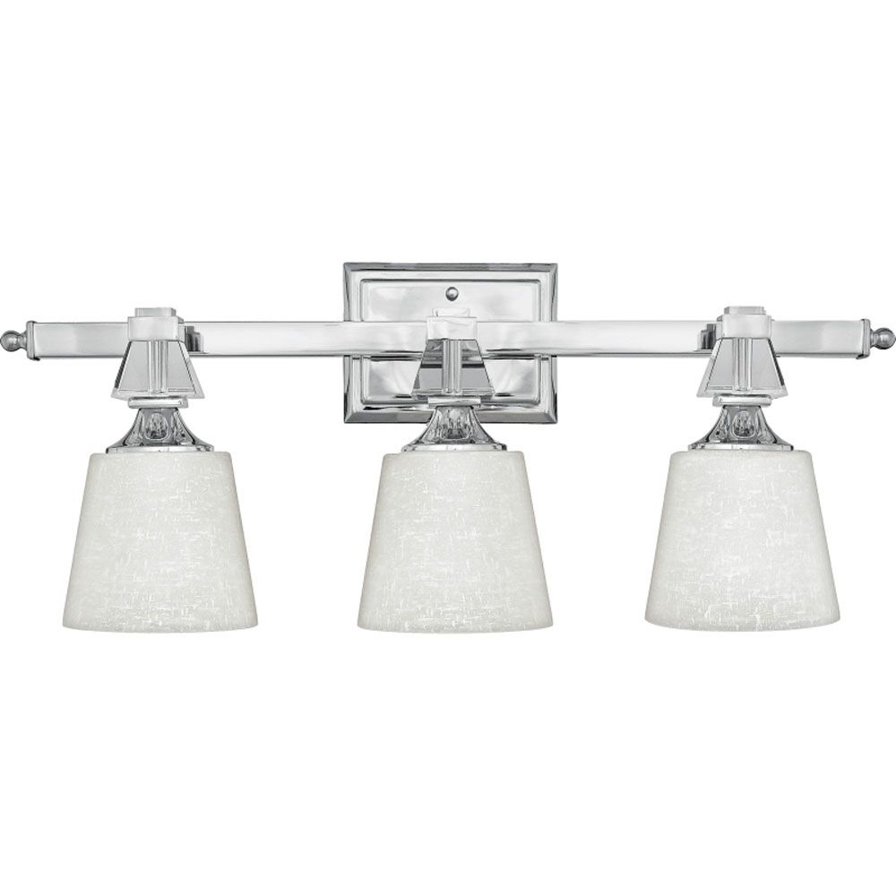 Monroe 3-Light Polished Chrome Vanity with a Cream Linen Shade