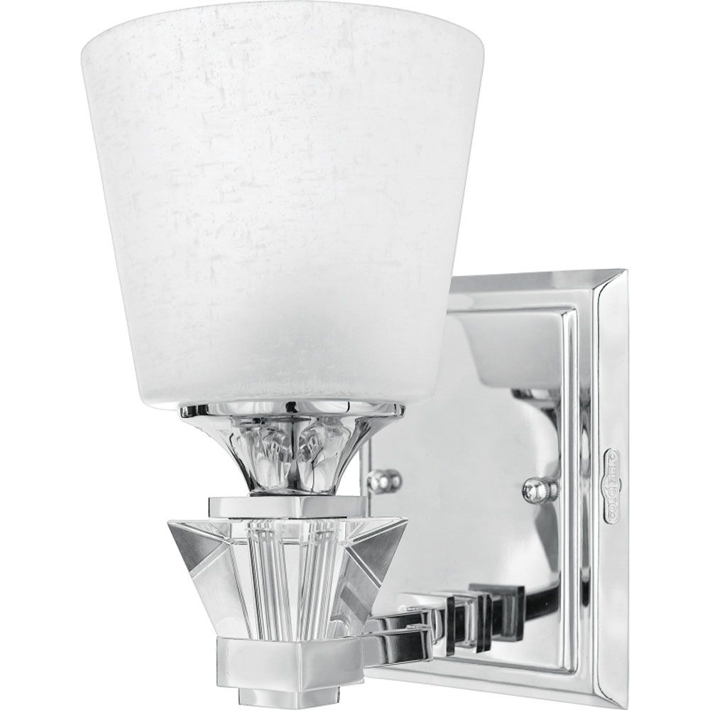 Monroe 1-Light Polished Chrome Vanity with a Cream Linen Shade