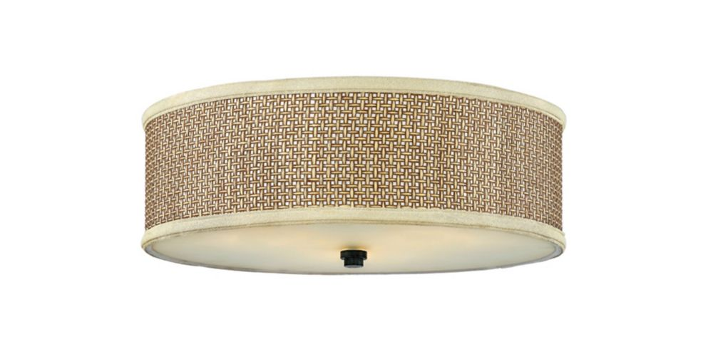 Monroe 3-Light Mystic Black Flush Mount with a Rattan Shade