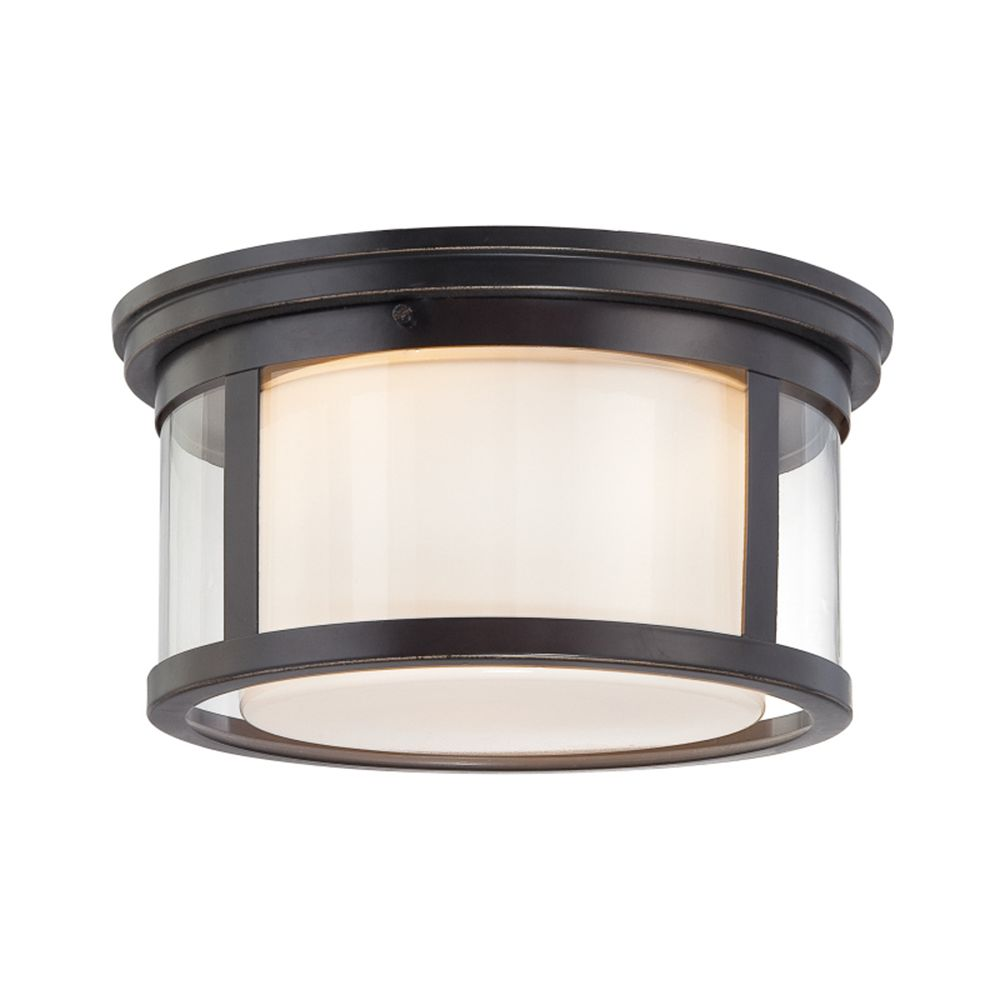 Monroe 2-Light Palladian Bronze Flush Mount with an Opal Etched Shade