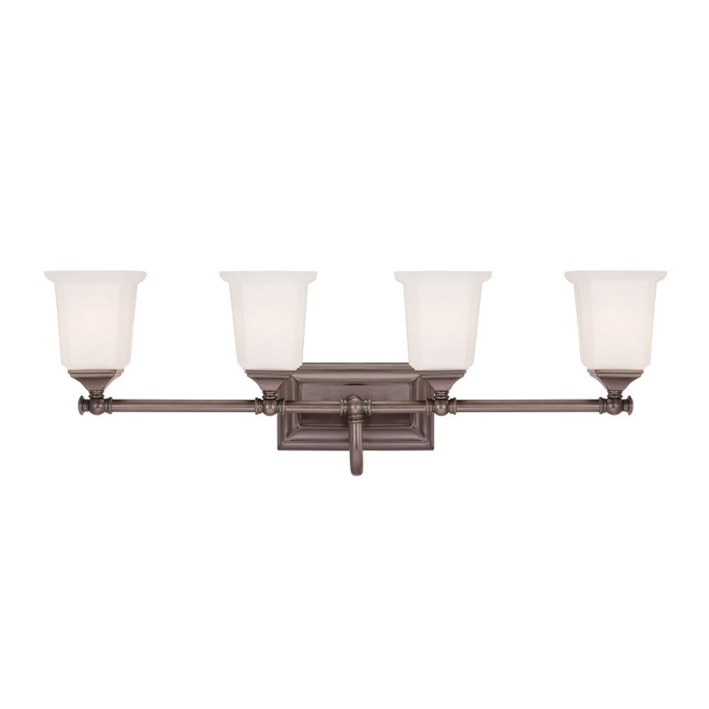 Monroe 4-Light Harbor Bronze Vanity with an Opal Etched Shade