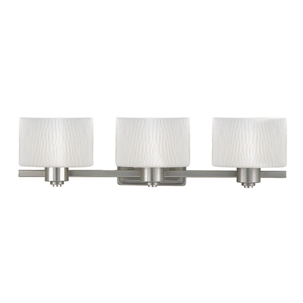 Monroe 3-Light Empire Silver Vanity with an Opal Etched Wave Shade
