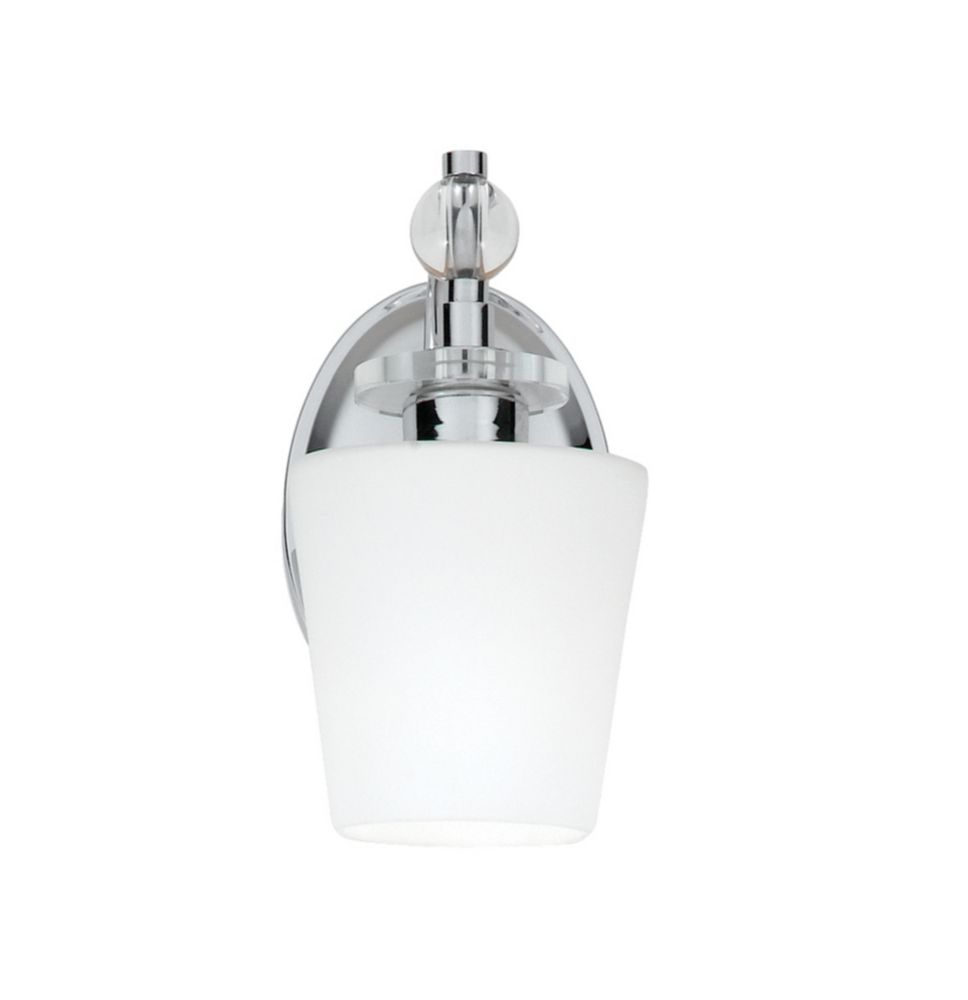 Monroe 1-Light Polished Chrome Vanity with a White Etched Shade