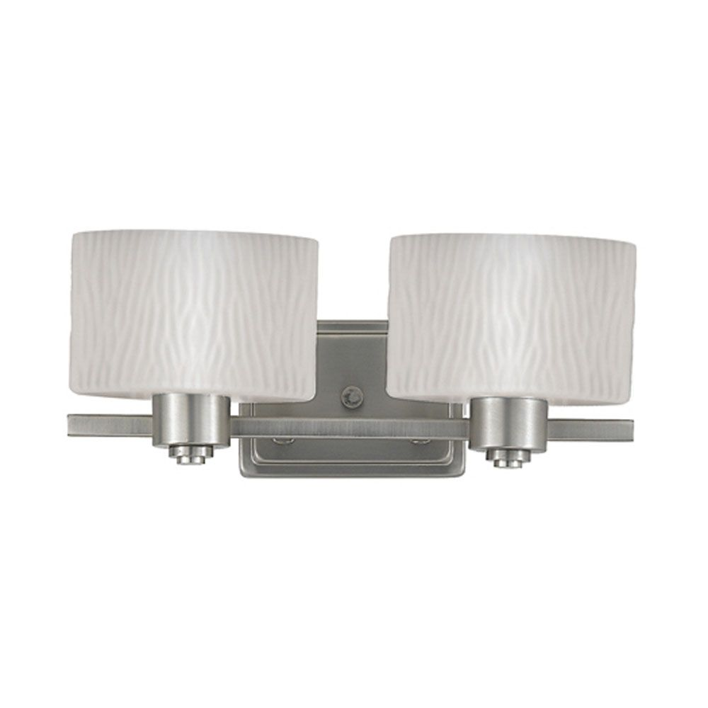 Monroe 2-Light Empire Silver Vanity with an Opal Etched Wave Shade