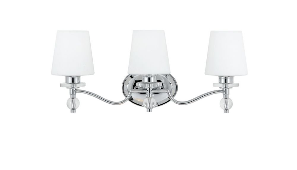Monroe 3 Light Polished Chrome Incandescent Vanity with a White Etched Shade