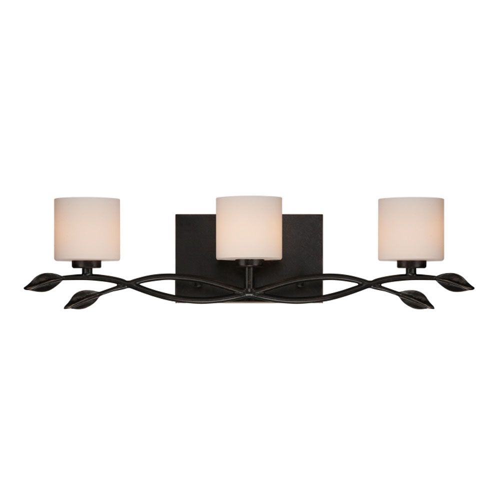 Monroe 3 Light Imperial Bronze Halogen Vanity with an Opal Etched Shade