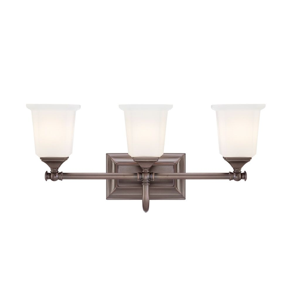 Monroe 3 Light Harbor Bronze Incandescent Vanity with an Opal Etched Shade