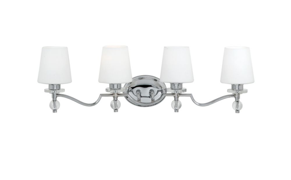 Monroe 4-Light Polished Chrome Vanity with a White Etched Shade