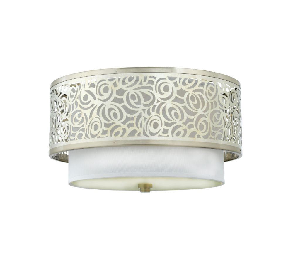Monroe 2 Light Brushed Nickel Incandescent Flush Mount with a White Silk Shade