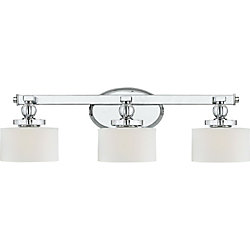 Filament Design Monroe 3 Light Polished Chrome Halogen Vanity with an Opal Etched Shade